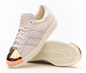 shoes adidas 80s style superstar metaltoe rose gold nude