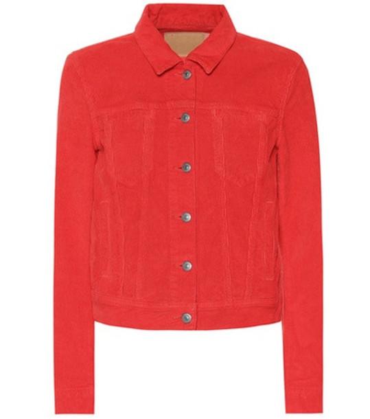 Acne Studios Blå Konst corduroy jacket in red