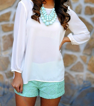 shorts blue teal cute spring summer jewels pattern turquoise mint statement necklace white fashion necklace blouse lovely