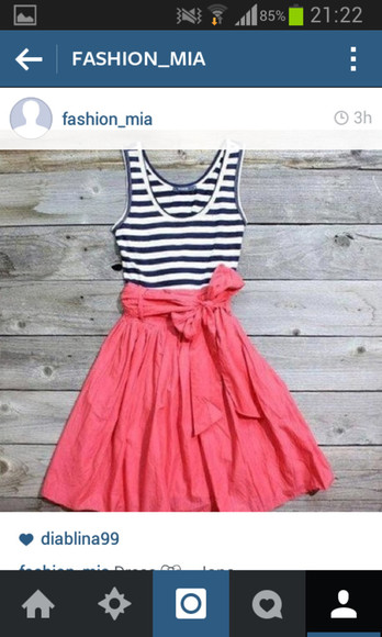bows pink dress skirt stripes