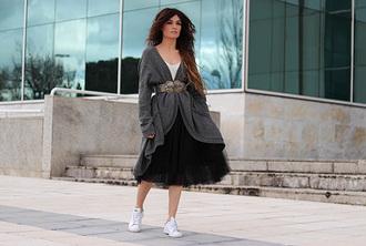 madame rosa blogger cardigan skirt t-shirt shoes belt