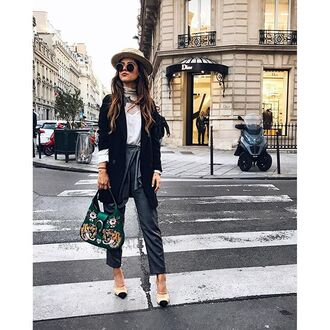pants tumblr grey pants top white top coat black coat chanel mules chanel chanel shoes bag printed bag sunglasses hat fall outfits streetstyle french girl style