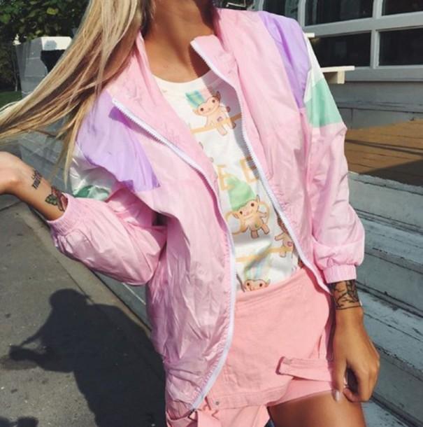 jacket girl girly girly wishlist pink windbreaker 90s style tattoo 90s grunge cartoon pastel pink old school pastel