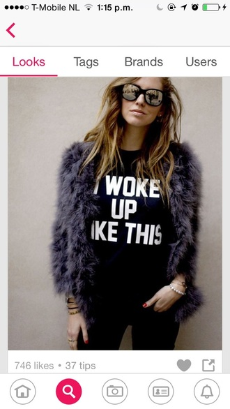 coat furr fake fake furr blue purple white black sassy sunglasses girl pretty blonde hair ombre hair i woke up like this t-shirt too sassy for you