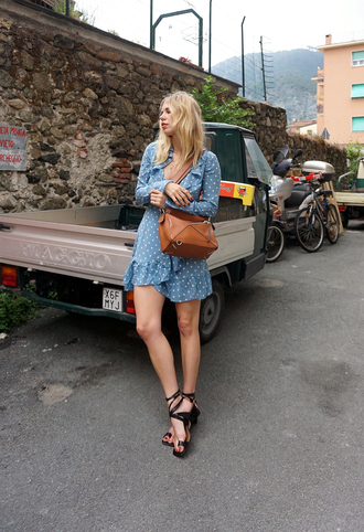 dress wrap dress tumblr polka dots realisation par dress mini dress long sleeve dress sandals black sandals bag loewe bag shoes