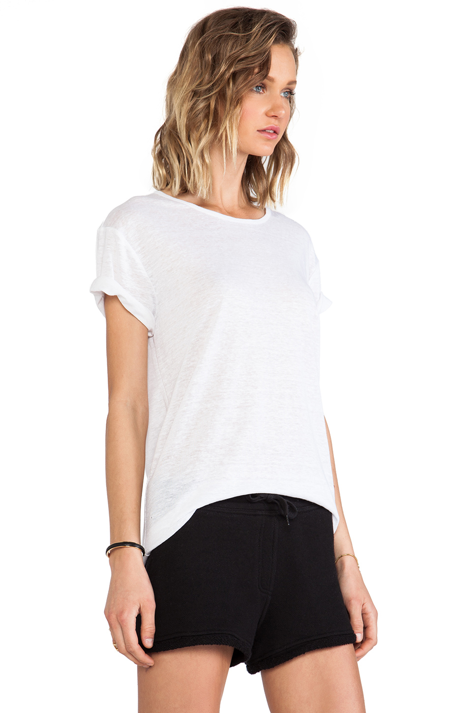 T by Alexander Wang Linen Silk Jersey Tee in White from REVOLVEclothing.com