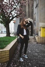 jestem kasia,blogger,jacket,pants,t-shirt,shoes,sunglasses