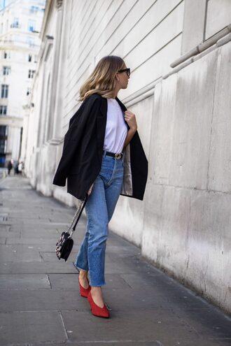 shoes red shoes tumblr pointed toe pumps denim jeans blue jeans t-shirt white t-shirt jacket blazer black blazer