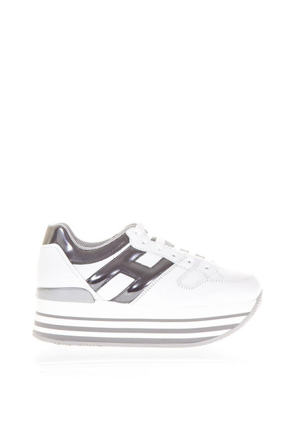 Hogan Maxi H222 Leather Sneakers in silver / white
