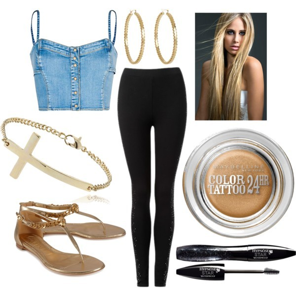 shirt jeans black make-up sandals gold bustier cute swag leggings hipster jewelry shoes pants jewels