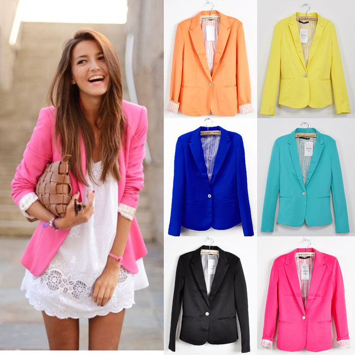 New collection stylish womens one button tunic foldable sleeve blazer jacket