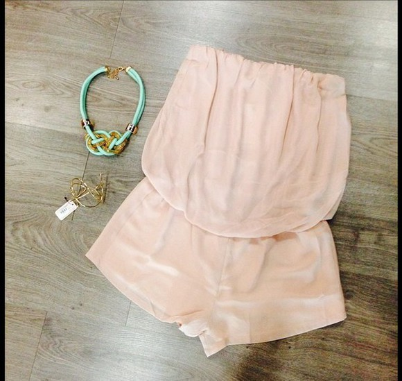 necklace romper nude nude romper strapless accessories cute i need! where to get this necklace