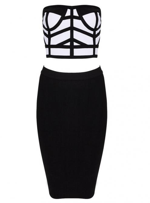 Black And White Two Piece StraplessBandage Dress HL061 $119