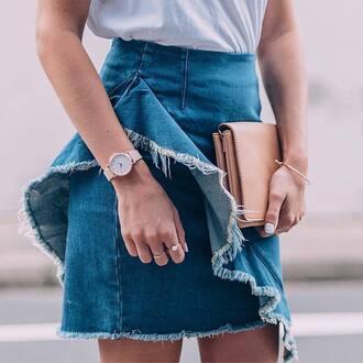 skirt tumblr mini skirt denim denim skirt ruffle frayed denim skirt frayed denim watch ring gold ring jewels jewelry nude bag bag