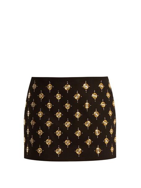 Balmain skirt mini skirt mini embellished velvet gold black
