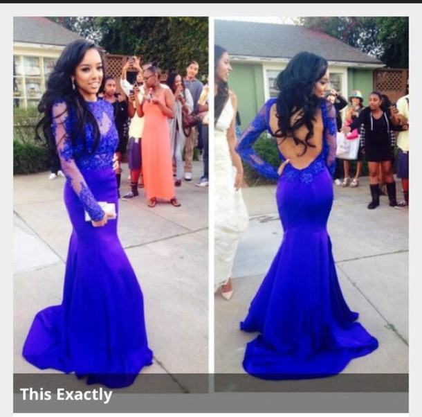 Dress: royal blue dress, prom dress, lace prom dress, prom dress ...