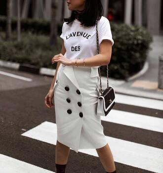 skirt tumblr midi skirt white skirt button up skirt button up t-shirt white t-shirt quote on it bag black bag chain bag chanel bag all white everything