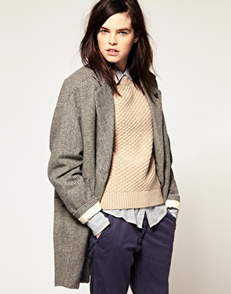 jacket brown classy office outfits blue white navy cute dressy winter outfits fall outfits long coat pants sweater blouse