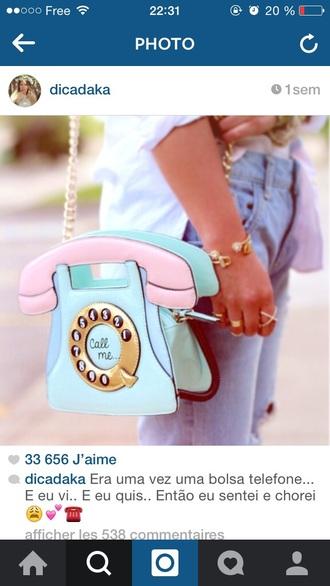 bag phone pastel bag blue bag