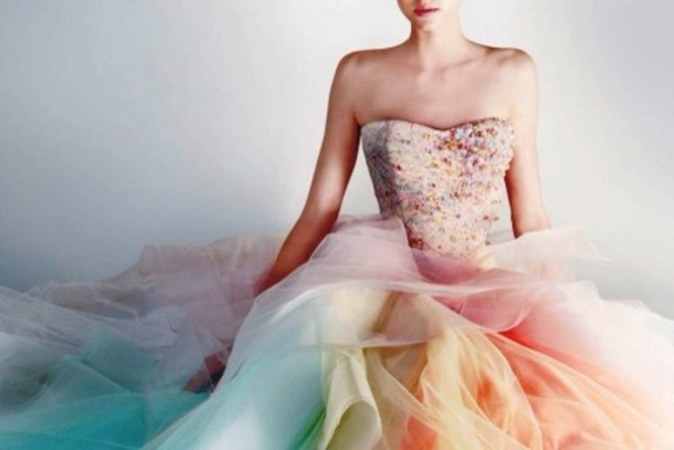 Dress: prom, rainbow, pink, blue, yellow, green ...