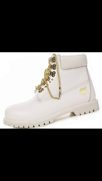 shoes white timberlands timberlands boots whte gold timberlands gold chain white chain timberland boots white timberlands with gold