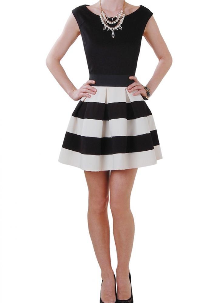 Black & white stripe high waist a