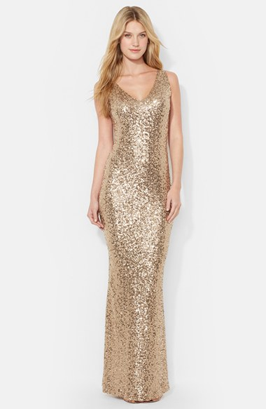 Lauren Ralph Lauren Sequin V-Neck Gown (Regular & Petite) | Nordstrom