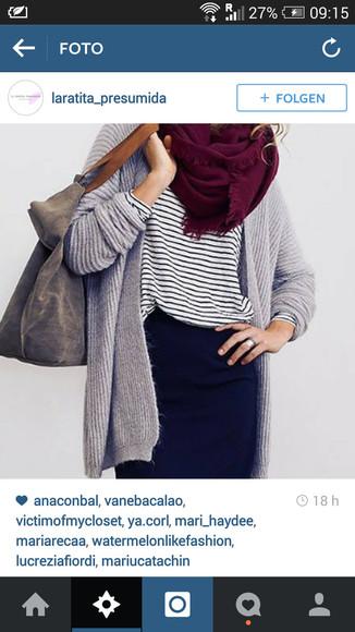 grey sweater fall outfits bag cardigan girl