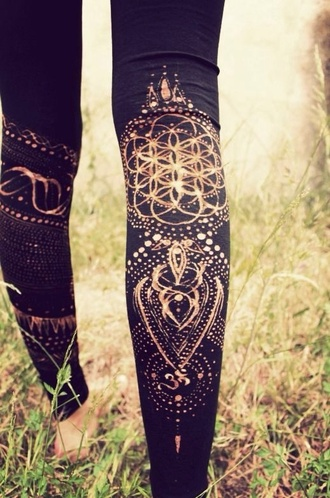 leggings fashion yoga pants henna mandala black high waisted pants gym clothes