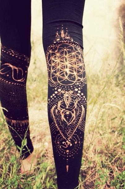 leggings black leggings boho boho chic hippie festival