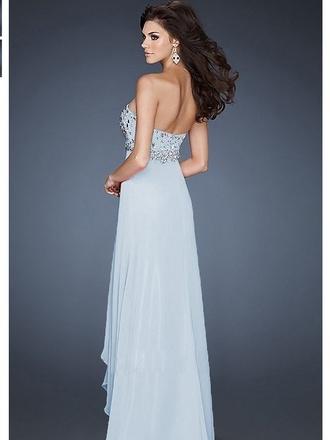 dress prom dress light blue embellished dress chiffon dress a-line dresses blue dress floor length dress diamonds sweetheart dresses empire dresses