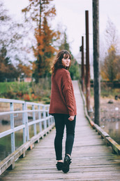 the mop top,blogger,jeans,cable knit,rust,ankle boots,sweater,shoes