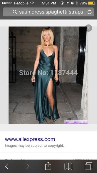 dress rihanna satin dress prom dress long dress green