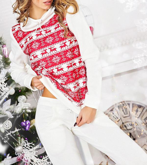 Cute Womens Christmas Pajamas.Pajamas Jumpsuit 2 Piece Set Women Reindeer Sweater