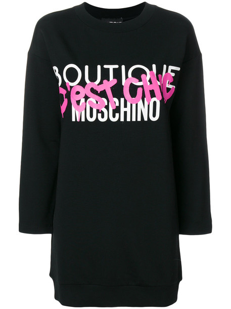 BOUTIQUE MOSCHINO dress sweatshirt dress chic women cotton black