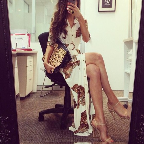 dress maxi dress long dress luxury sexy classy dress lust for life christian louboutin swag long hair party nicole richie style rihanna leopard print blouse shoes white