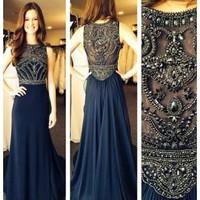 Navy blue evening dresses,prom dresses,celebrity dresses,handmade beading chiffon dark blue long prom dresses