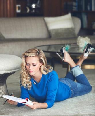 sweater jeans editorial reese witherspoon mules shoes heels