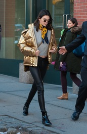 pants,kendall jenner,coat,shoes,top,leggings