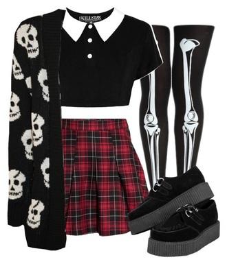 skirt black shoes skeleton leggings killstar