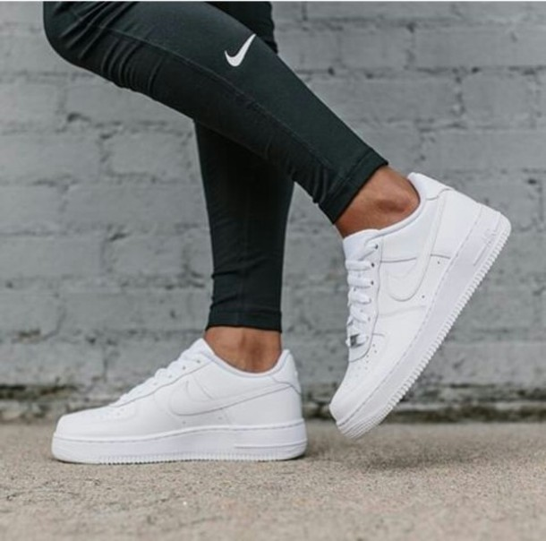 shoes nike white nike shoes nike air max 1 trainers black and white leggings black
