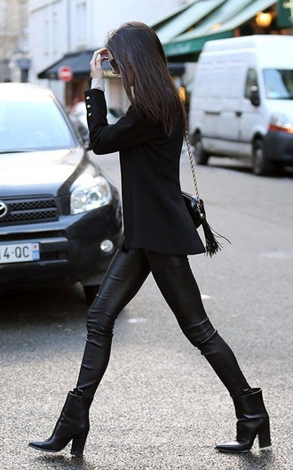 shoes kendall and kylie jenner boots jacket leather pants fringed bag