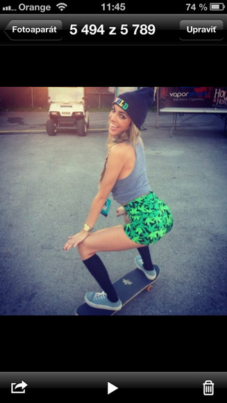 swag swag girl shorts green marihuana skater girl