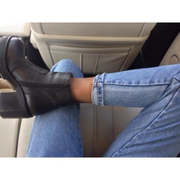 Jeans dark denim mom jeans blue boyfriend jeans shoes black boots booties designer ...