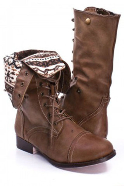 shoes boots brown hipster leather fold over combat boots aztec lace up