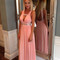 A-line pink chiffon long prom dresses formal party dress with sexy style am295