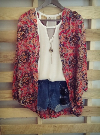 jacket kimono white shorts hipster tank top jewelry blue jean shorts hippie chic blouse shirt paisley pink coat cardigan bohemian red floral indie hippie summer summer outfits floral kimono orange sweater white tank top denim shorts ripped shorts cross