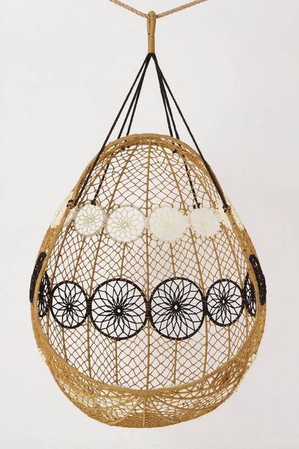 Knotted melati hanging chair, natural motif