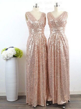 dress gold sequins v neck