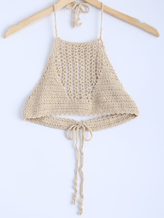 top crochet crop tops fashion style summer trendy beach beige nude dressfo